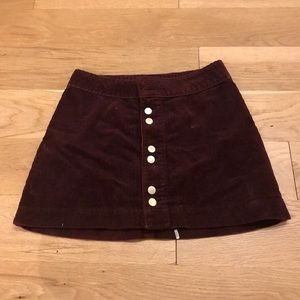 Abercrombie & Fitch Red Courduroy Skirt